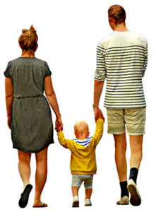 Family walking with child