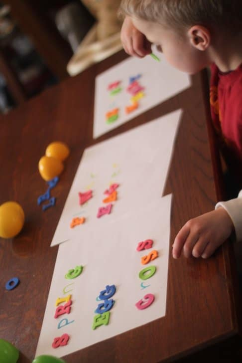 Egg Scavenger Hunt & Letter Matching Activity