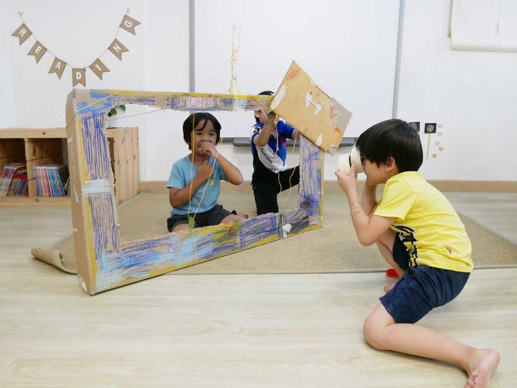 children play during Reggio Emilia project at British Early Years Centre International Kindergarten, Bangkok
