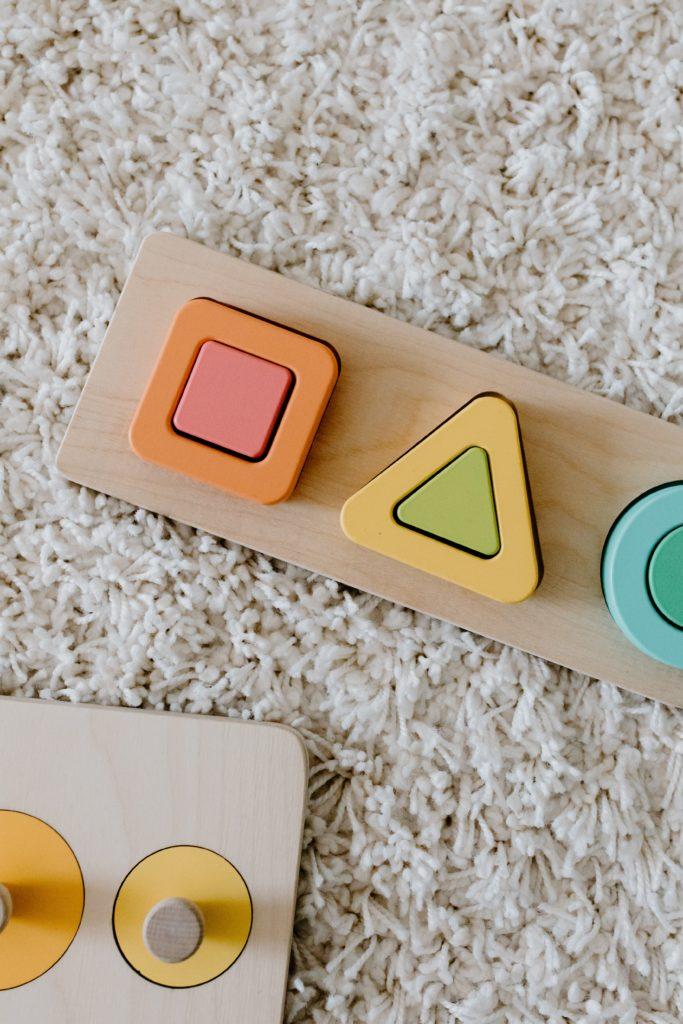 Wooden toys used at Montessori kindergartens in Bangkok