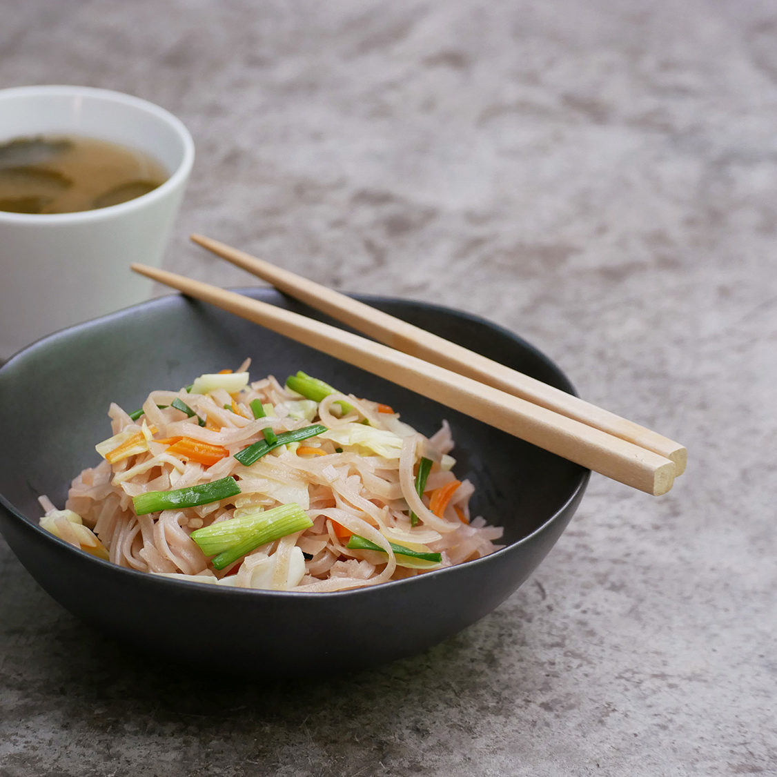 Yaki Soba with Brown Rice Noodles and Miso Soup